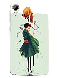 Blue Throat Cartoon Girl With Animal Printed Designer Back Cover/ Case For HTC Desire 828