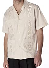 Embroidered cotton blend guayabera color Beige.
