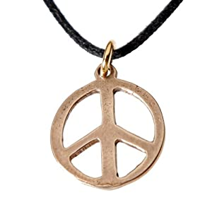 Small Peace Symbol Peace Bronze Pendant Necklace on Adjustable Natural Fiber Cord