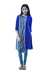 aarr Round Neck Georgette 3/4th Sleeves Casual Printed A-Line Kurta For Women