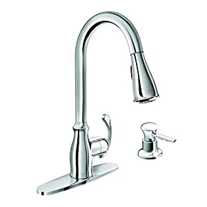 Moen Pullout Spray High Arc Kitchen Faucet with Soap