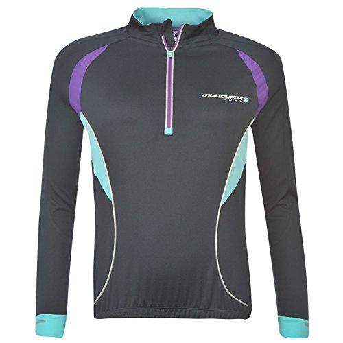 Muddyfox-Pure-Damen-Radlershirt-Fahrrad-T-Shirt-Trikot-Langarm-Radsport-Rad-Tee-NavyPrplBlue-18-XXL