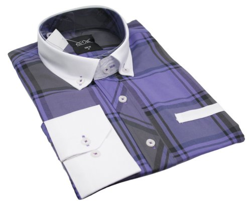 Mens Italian Check Shirt Purple White Collar & Cuff Very Slim Fit Smart or Casual