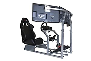 GTR Racing Simulator Seat - GTA-F Model Triple or Single Monitor Stand with Adjustable Leatherette Seat, Racing Simulator Cockpit gaming chair Single Monitor Stand from GTR Simulator