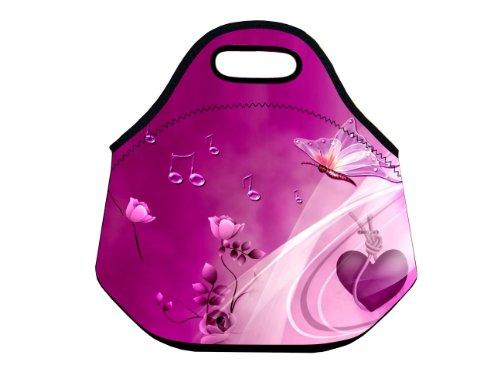 Music Butterfly Lunch Tote Bag Cooler Box Neoprene lunchbox baby Handbag Case