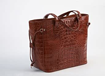 Crocodee Dark Brown Crocodile Leather Leniki Bucket Tote Handbag Purse