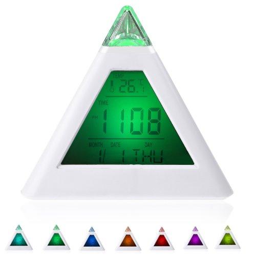 Single 7 Led Color Changing Pyramid Digital Lcd Alarm Clock Thermometer C/F Desktop Table Clocks Despertador Weather Station front-170592