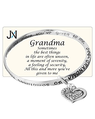 Grandma's Love Prayer Twist Engraved Bangle Bracelet with Heart Charm by Jewelry Nexus