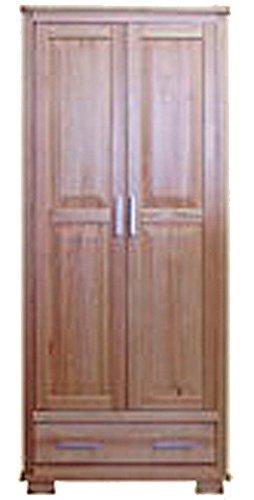 Armoire en bois du pin massif en couleur de noyer 013 - Dimensions: 190 x 80 x 60 cm