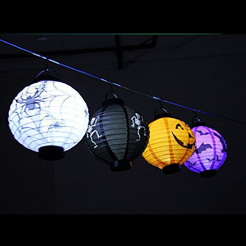 [inlacha Halloween Decoration LED Paper Pumpkin Light Hanging Lantern Lamp Halloween Props Outdoor Party Supplies (Pack] (Different Types Zombie Costumes)