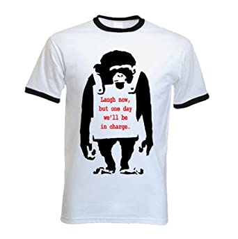 Banksy T-Shirt - Laugh Now Monkey - Small