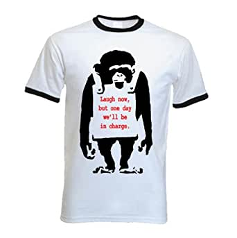 Banksy T-Shirt - Laugh Now Monkey - Small