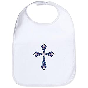 Truly Teague Baby Bib Stained Glass Cross - White