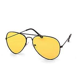 Laurels Polarized Aviator Unisex Sunglasses -(PL-0118|Yellow Lens)