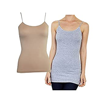 Active Cami Camisole Built in Shelf BRA Adjustable Spaghetti Strap Tank Top, 2 pack: Heather Grey/Beige, S