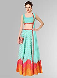 FIROZI COLOURED LEHENGA SPECIAL FOR NAVRATRI AND HUGER DEMAND FOR DIWALI BE READY FOR HUNGAMA SILK LEHENGA CHOLI WITH DIDITAL PRINT