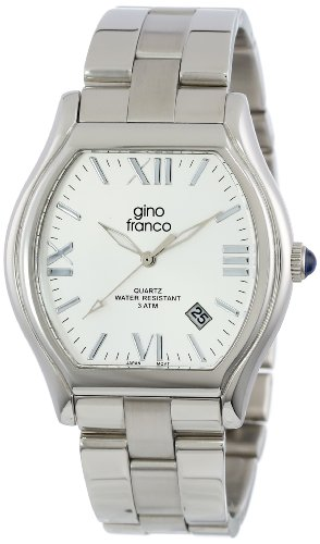 gino franco Men's 937SL Cushion Shaped Stainless Steel Bracelet Watch