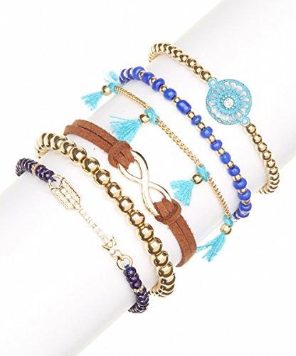 Lux Accessories Tribal Pave Arrow Infinity Blue Purple Bracelet set