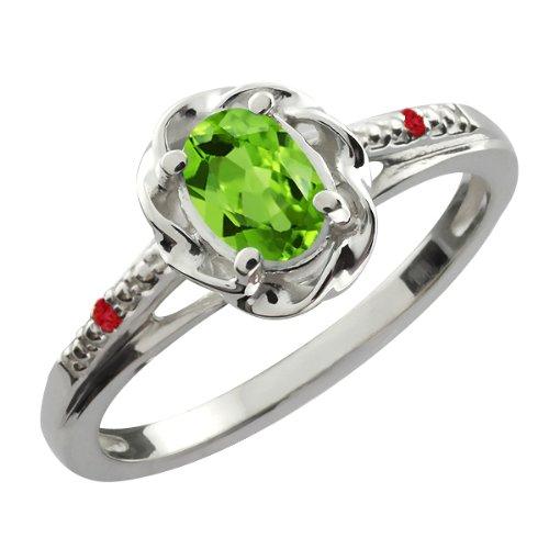 0.52 Ct Oval Green Peridot Red Rhodolite Garnet 18K White Gold Ring