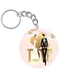 Animated Couple | ShopTwiz WOODEN Circle Key Ring