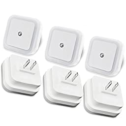 LED Night Light [2016 Upgraded Version], Peyou® [6 PCS] 0.5W Plug in LED Night Light Lamp With Dusk to Dawn Sensor, Perfect for Baby Kids Bedroom, Wall, Closet, Hallway (Pack of 6)