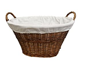 Woodluv dark brown wicker laundry basket with white linning e01 335 kitchen home - Whites and darks laundry basket ...