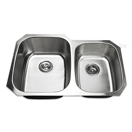 Decor Star P-008-B2 32 Inch Undermount 60/40 Offset Double Bowl 18 Gauge Stainless Steel Kitchen Sink cUPC, Grid, and Strainer Combo