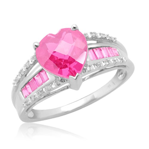 10k White Gold Heart Shaped and Baguette Created Pink Sapphire with Diamond H