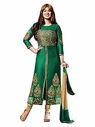 Dhruta Creation Green colors cotton febric semi stitched Dress materials for women