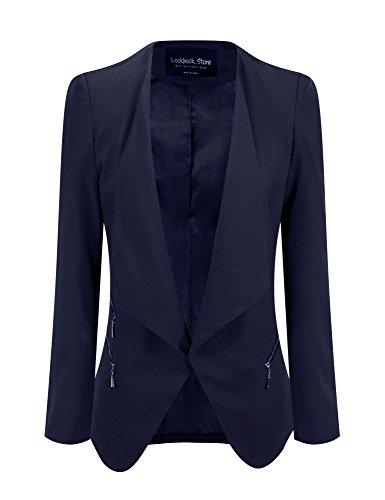 Lookbook Store Women's Dark Blue Draped Padded Asymmetric Suit Blazer US 10 (Blue Store compare prices)