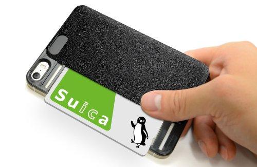 【日本製】 ICカードケース iPhone 5S/5専用 背面に貼るタイプIC-COVER Slim S (ピュアブラック)