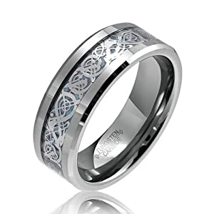 Bling Jewelry Celtic Dragon Blue and Tungsten Wedding Ring 8mm