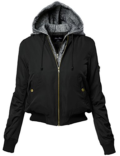 Warm Hoodie Mixed French Terry Bomber Jackets