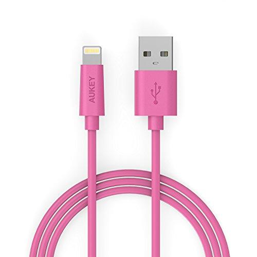 Aukey Apple MFI 認証済み Lightning ケーブル ライトニング USBケーブル iPhone 6S/6S Plus/6/5、iPad Air、iPad mini等対応 高速充電&データ転送可能 1m (ピンク) CB-D20