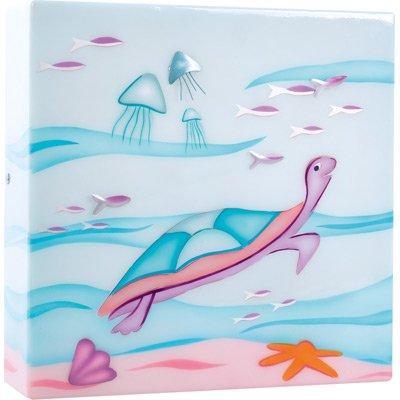L'oiseau bateau - Applique boîte à lumière Tortue - bleu et rose