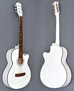 4/4 Akustik Gitarre Westerngitarre in Weiß mit Rosenholz Griffbrett