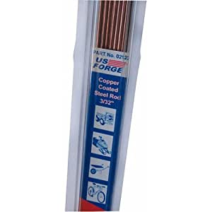 US Forge 02122 3/32-Inch by 18-Inch 0.8-Pound Welding Gas Welding Rods Copper Coated Steel