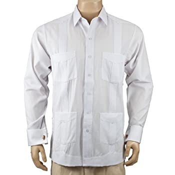 Deluxe French Cuffed fitted White Guayabera