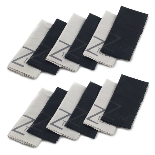 12 Pack Ztera Microfiber Cleaning Cloth And Pre-Moistened Wipes (6 Blacks, 6 Grays)