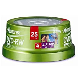 DVD-RW 4.7GB 25 Pack Spindle