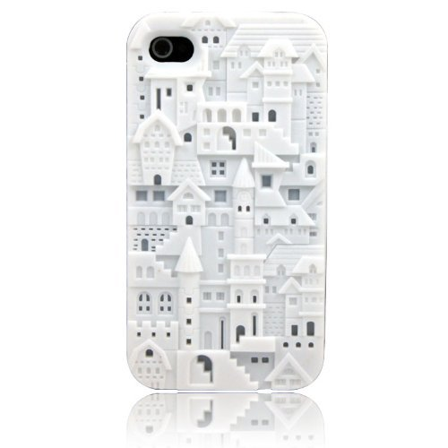 HJX White iphone 4/4S New 3D Carven Castle Style Design Hard Case For Apple Iphone 4 4G 4S (Hello Kitty Chrome Book Cover compare prices)