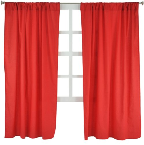 "Tadpoles Basics Set of 2 Curtain Panels, Solid Red, 63"" - 1"