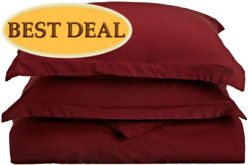 Clara Clark 1200 Grand Series 3 Pc Solid Duvet Cover (Button Closure) - King, Burgundy Red - 104 X 90 Inches - Includes 2 Pillow Shams - More Soft Comfortable And Breathable Than Cotton front-1010948