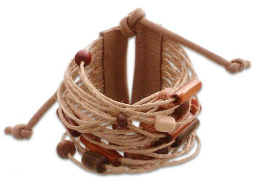 Bamboo and Leather Wristband Bracelet, 'Tanned Amazon' 2
