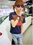 (フルールドリス)Fluer de lis 3色 バイカラー Vネック カットソー トップス tシャツ シャツ インナー カジュアル アパレル メンズ ファッション 服 6345