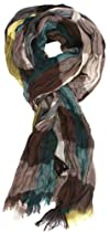 LibbySue-Pretty Plaid Crinkle Scarf with Eyelash Fringe in Browns with Yellow