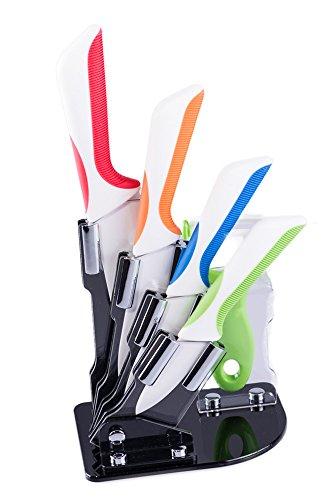 Premium Ceramic Knife Set 4 Piece Chef Knife and Vegetable Peeler Set with Adjustable Holder Stand
