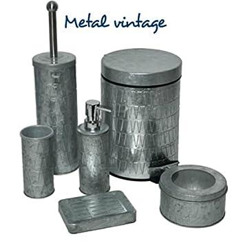 EVIDECO 6540102 Retro Galvanized Round Metal Bathroom Floor Step Trash Can Waste Bin 3-liters/0.8-gal Color: Silver