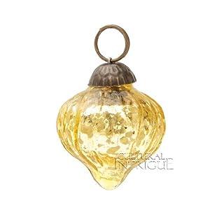 Mini Gold Mercury Glass Ornament (dotted onion design)