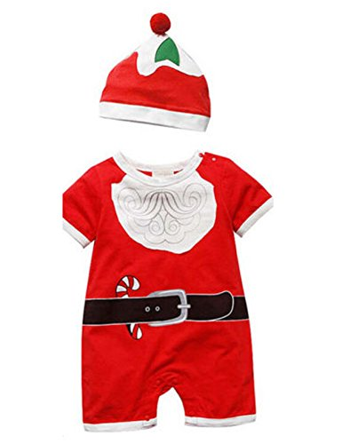Baby Infant Christmas Santa Clothes Santa Suit Hat Set Boys Girls Newborn Red